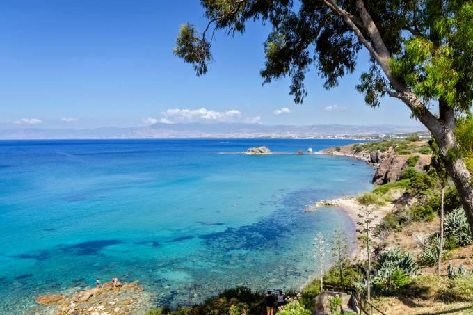 Praia de Afrodite, em Pafos, no sudoeste do Chipre