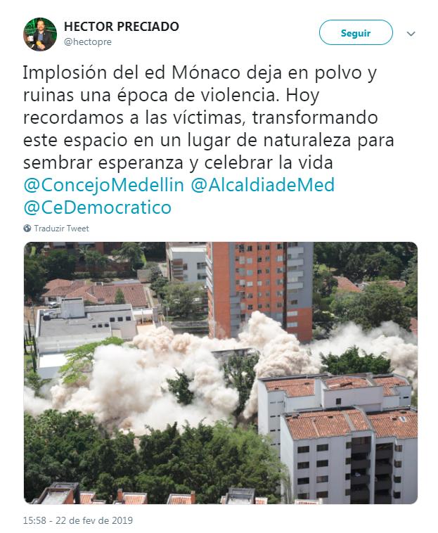 Tweet do vereador de Medellin falando sobre a implosão do Edifício Mônaco