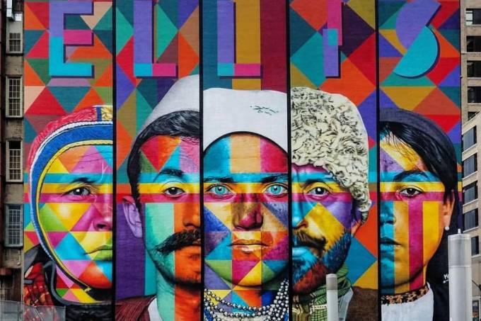 """Mural """"Imigrantes"""", do Kobra, em Nova York"""