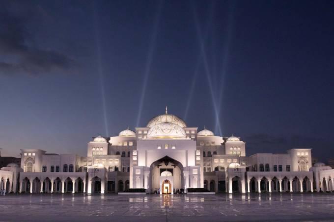 Fachada do Qasr Al Watan, Abu Dhabi, Emirados Árabes Unidos