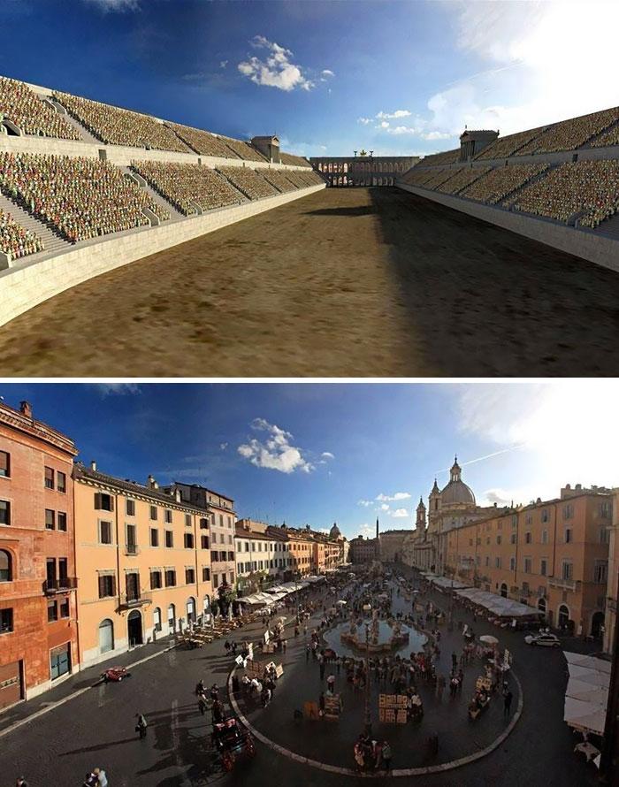 Reconstrução por imagem da Piazza Navona, Roma