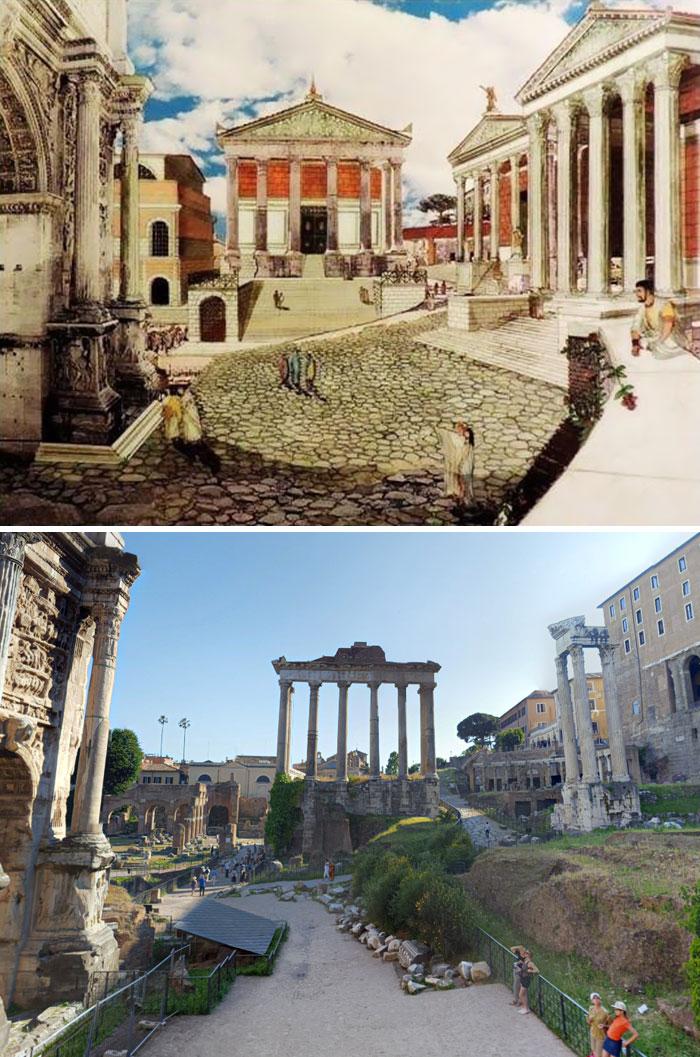 Reconstrução por imagem do Templo de Saturno, em Roma