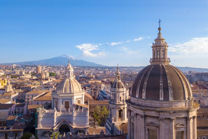Beautiful aerial view of the Catania city near the main Cathedral