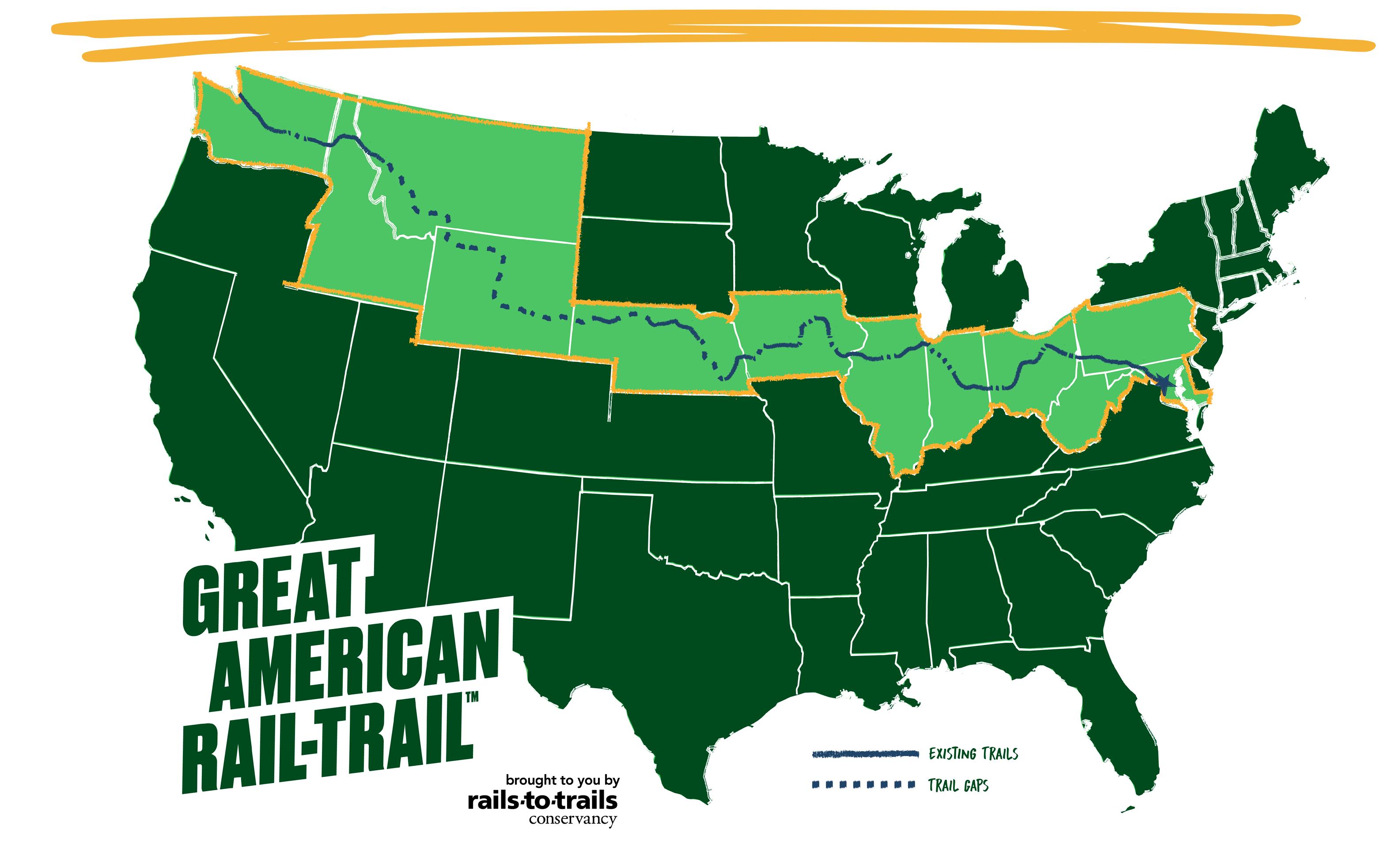 Mapa com trilha da Great American Rail-Trail