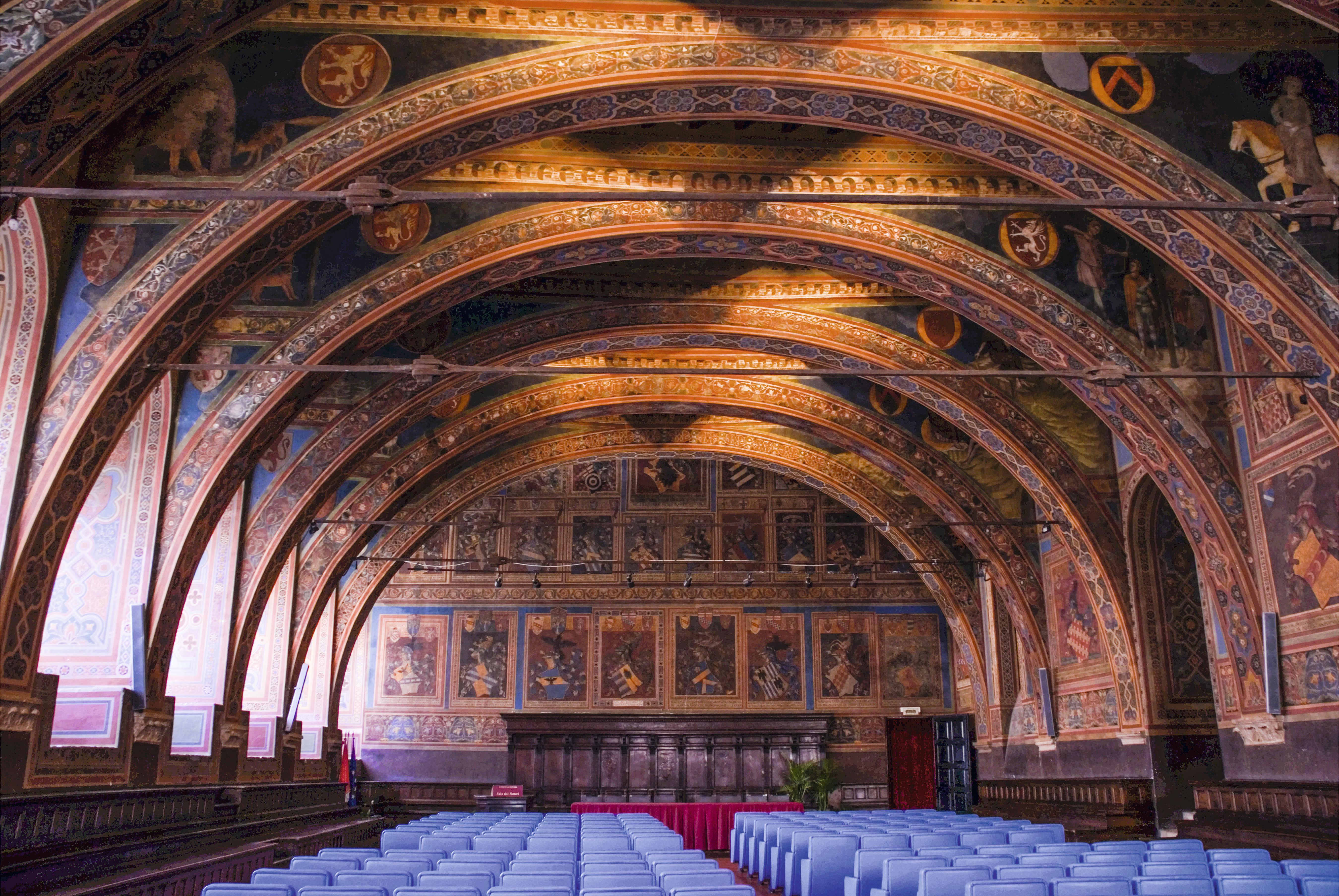 A sala com afrescos de Perugino, na Galleria Nazionale