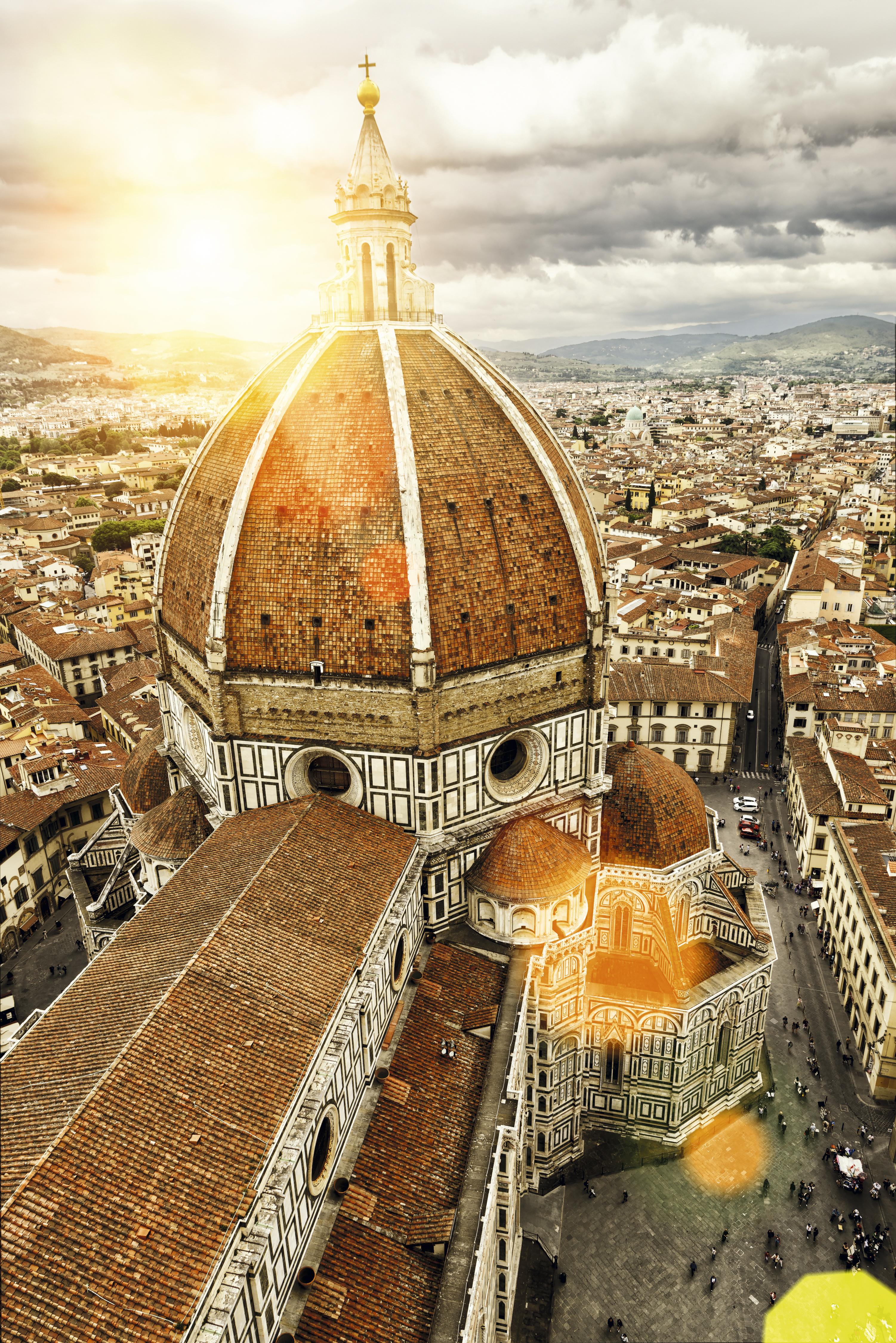 O pôr do sol no Duomo de Florença