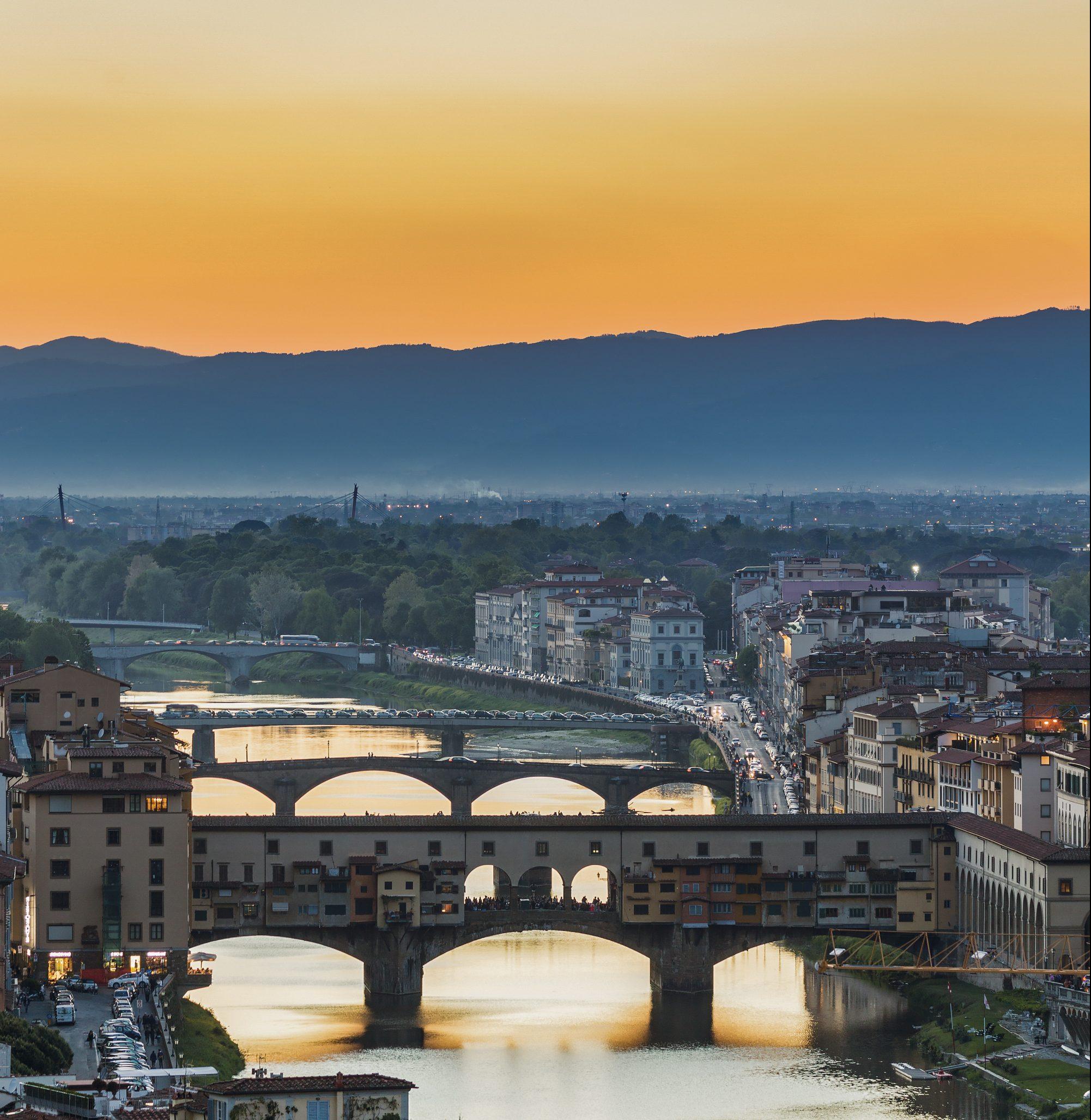 Pôr do sol na Ponte Vecchio