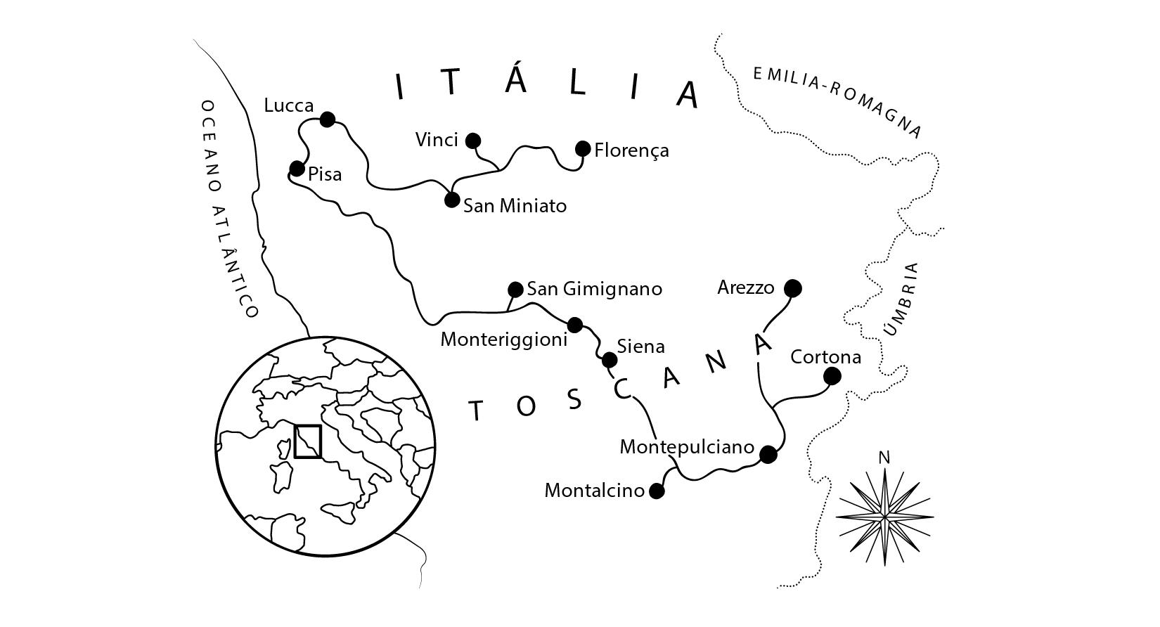 Mapa do roteiro pela Toscana