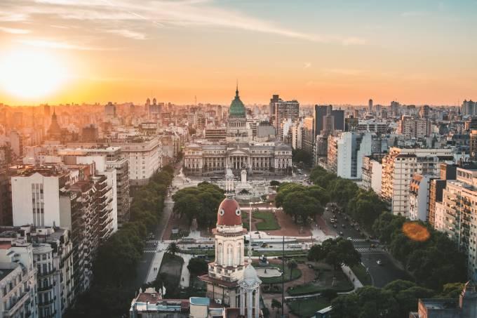 Vista aérea do Palacio Barolo, Buenos Aires, Argentina