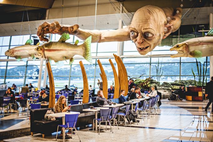 Gollum no aeroporto de Wellington, Nova Zelândia