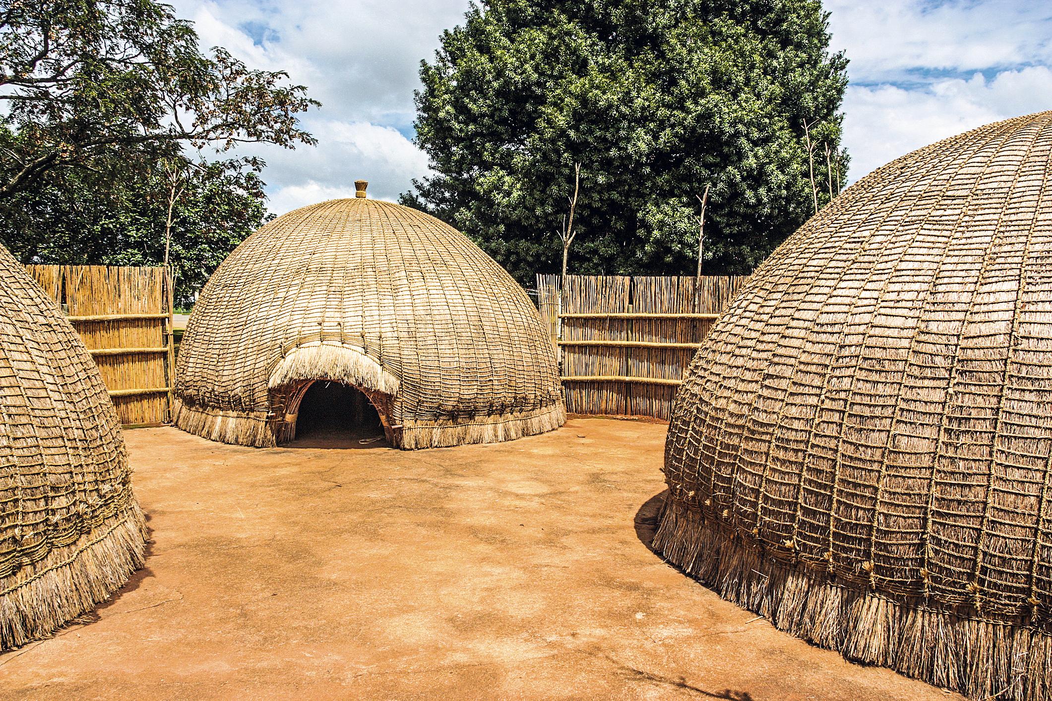 Cabanas de Suazilândia, na África Austral