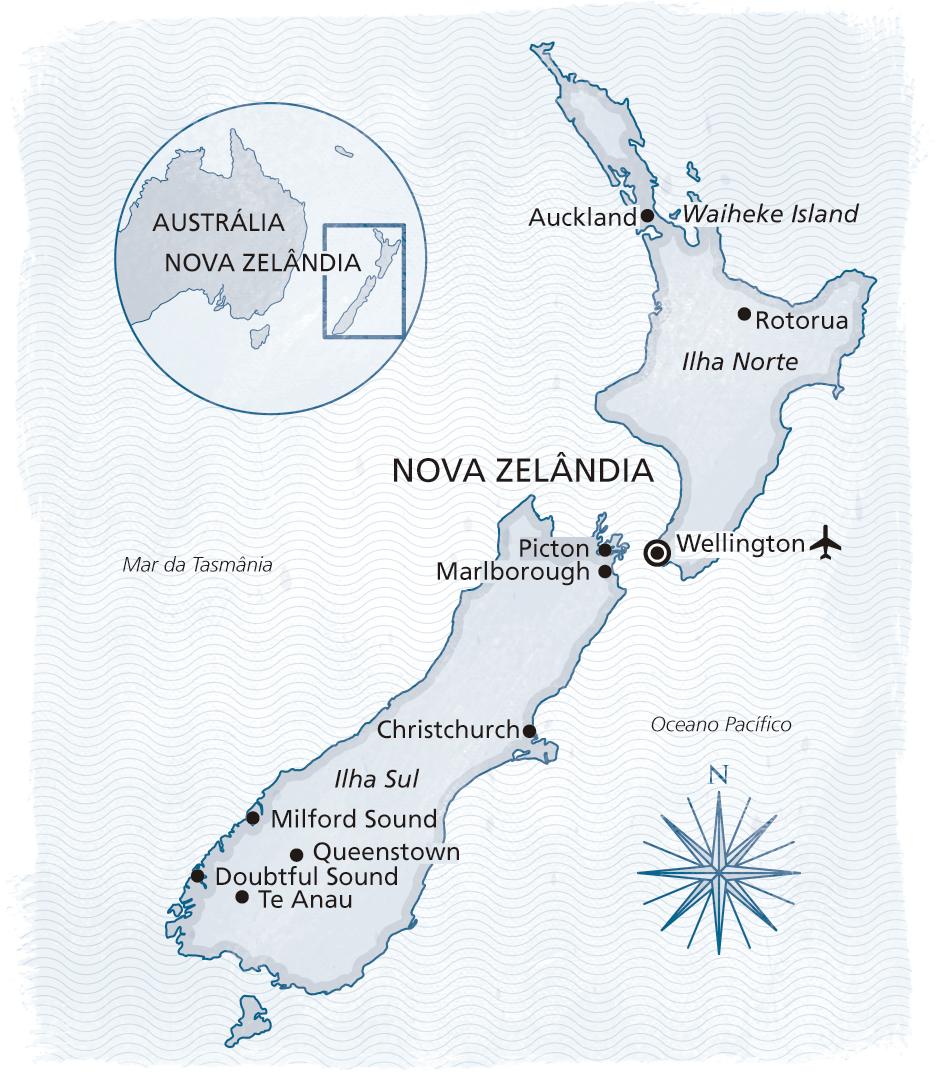 Mapa da rota Nova Zelandia