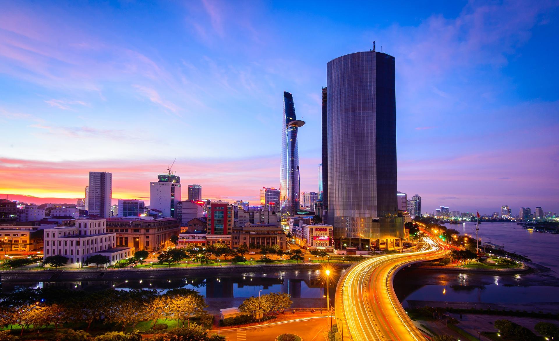 Vista da moderna Ho Chi Minh City
