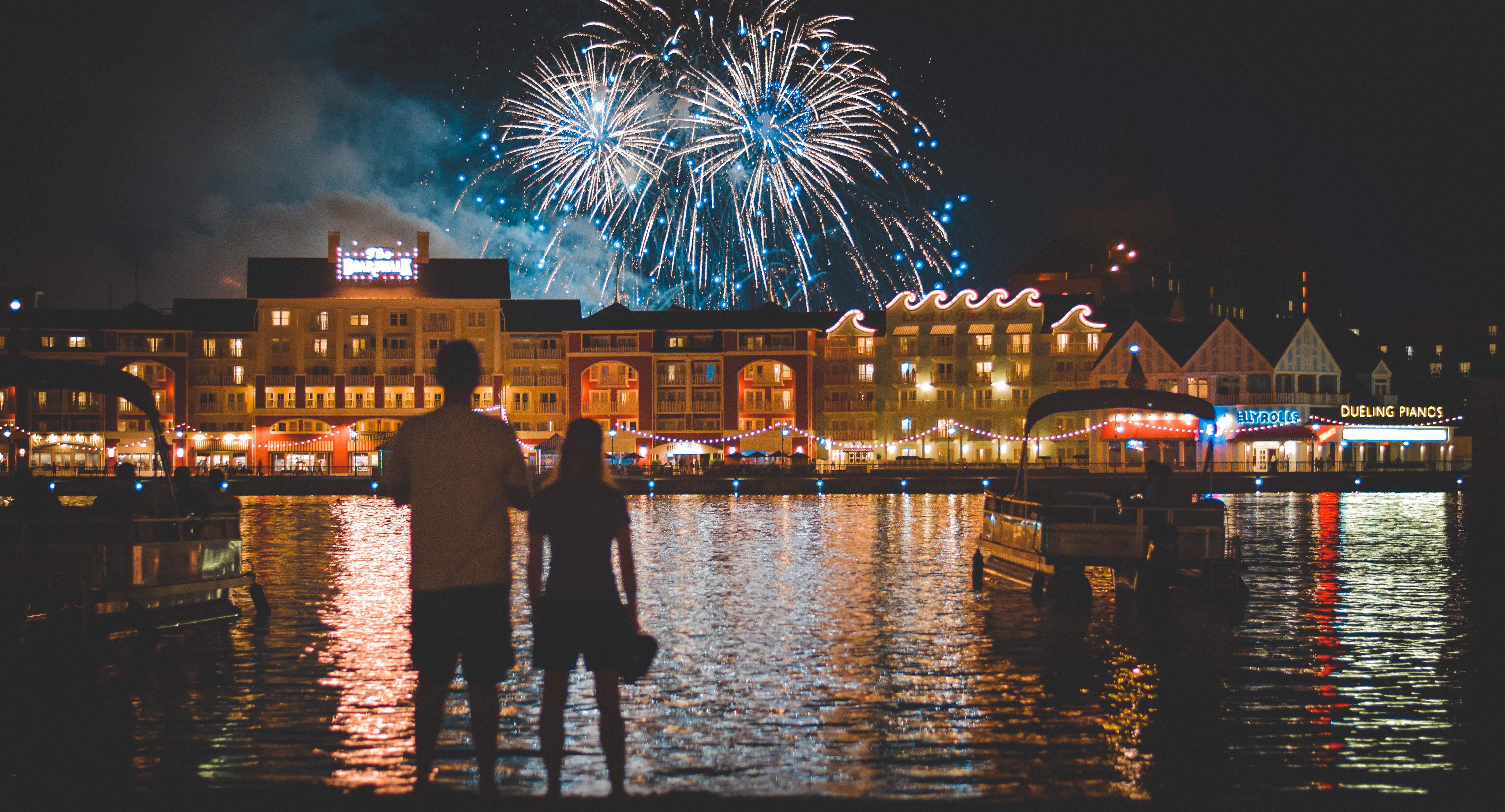 Show de fogos sobre o Disney's BoardWalk, em Orlando