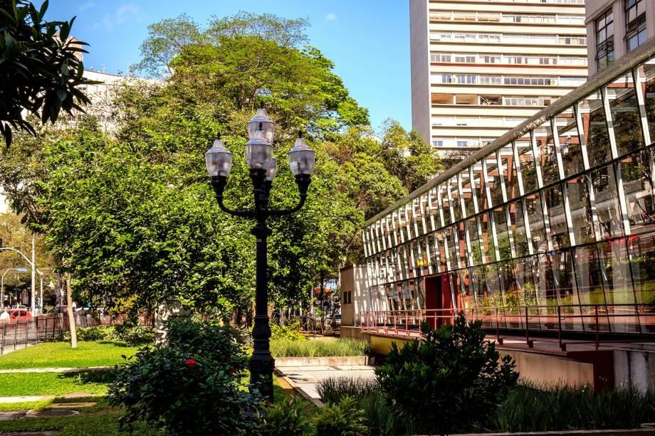 A fachada moderninha da Biblioteca Mário de Andrade