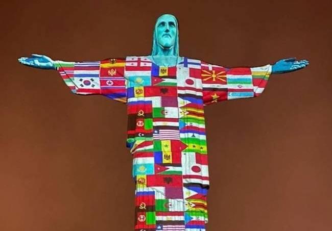 Cristo Redentor em solidariedade ao coronavírus