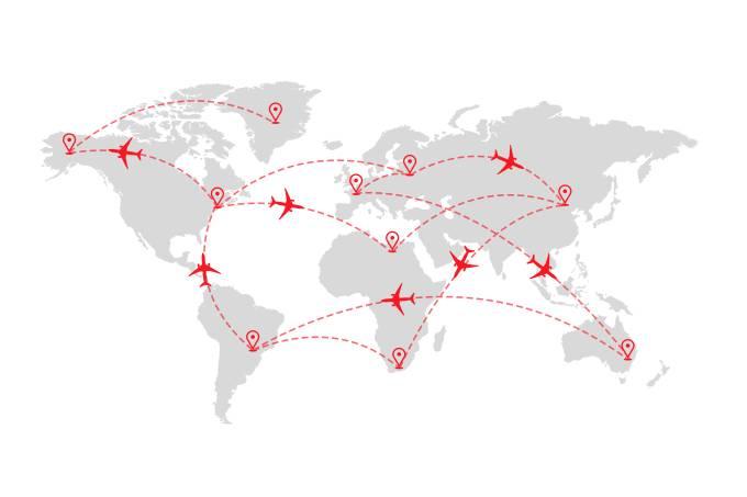Mapa-múndi com percurso de aviões