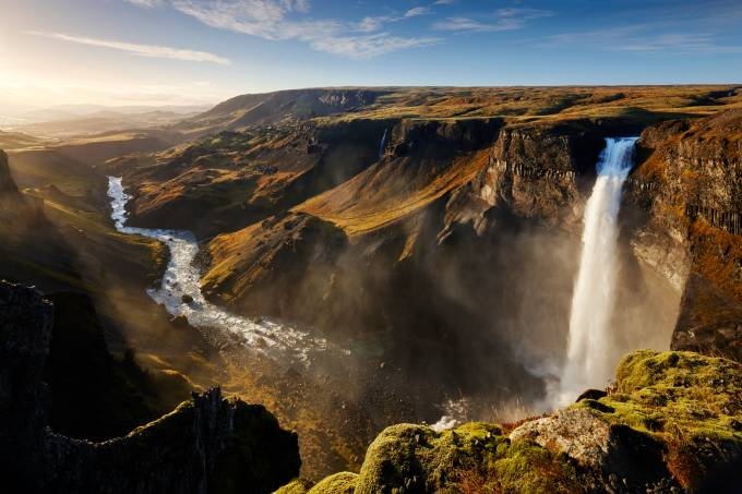 Haifoss waterfall, na Islândia