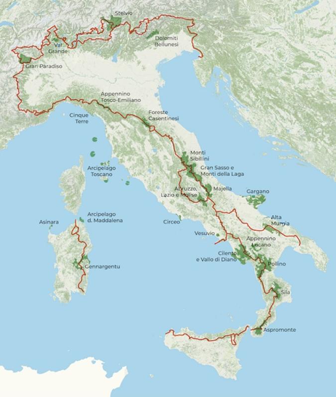 Sentiero dei Parchi, Itália