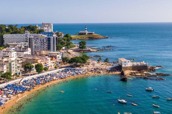 Salvador da Bahia, Brazil, Aerial View of Porto da Barra Beach and Barra Lighthouse
