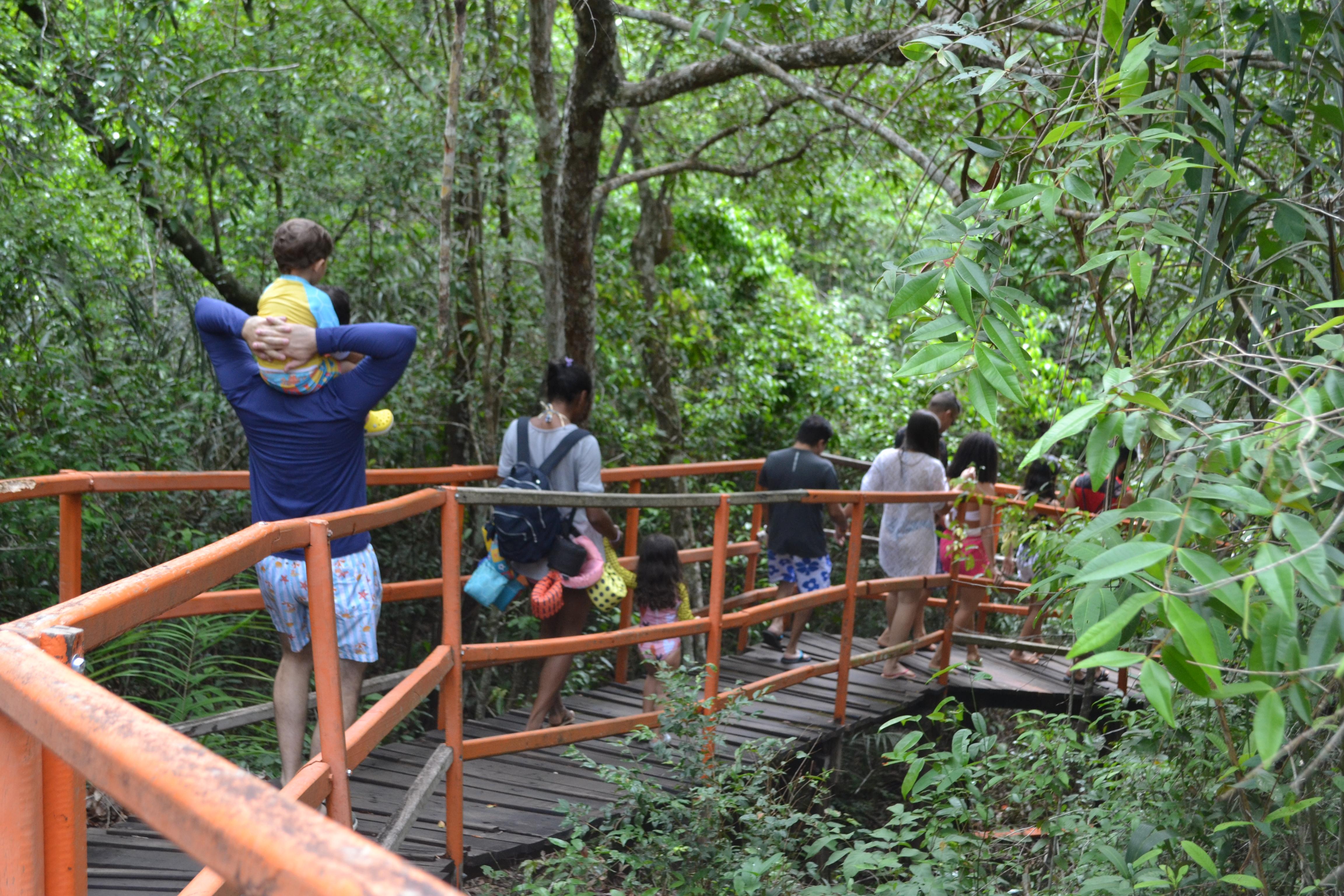 Chapada das Mesas: passarelas fáceis para a família toda. Na foto, caminho para Cachoeira do Santuário
