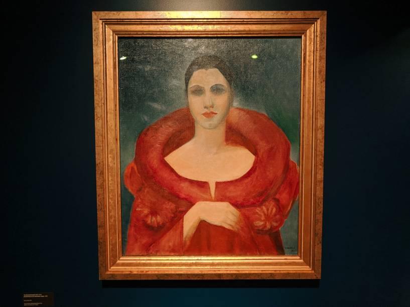 Autorretrato, manteau rouge (1923), de Tarsila, pertencente à Coleção do MNBA do Rio de Janeiro