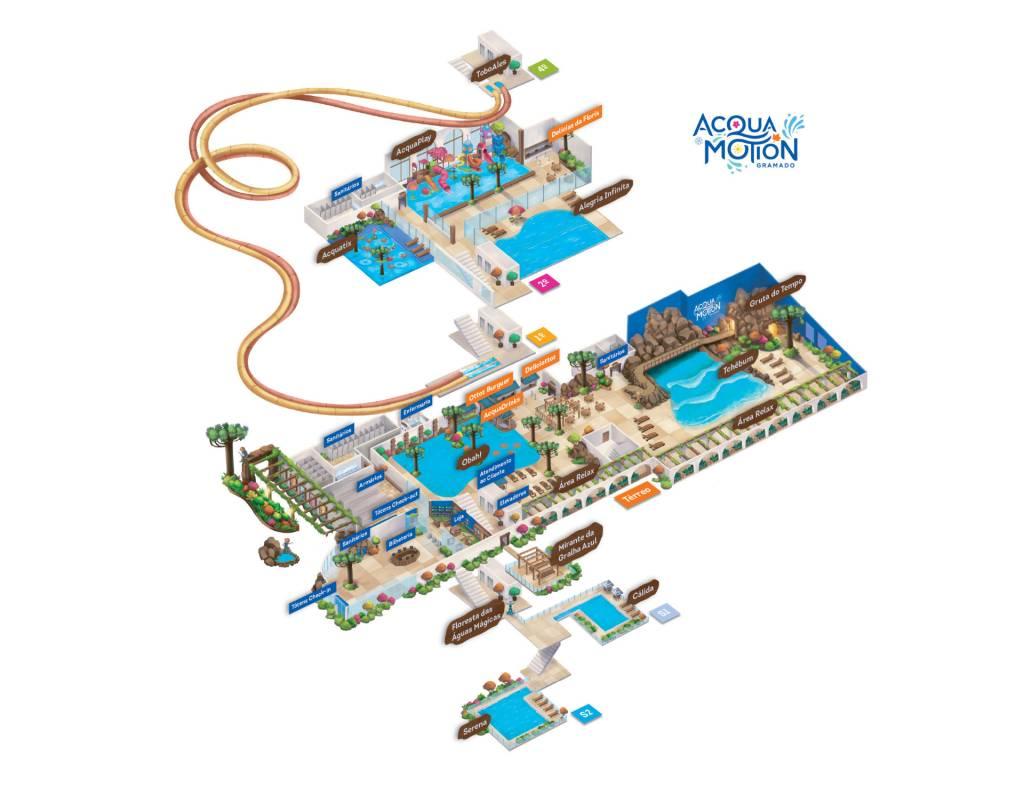 Mapa ilustrativo do parque aquático indica a localização das sete piscinas e seis toboáguas