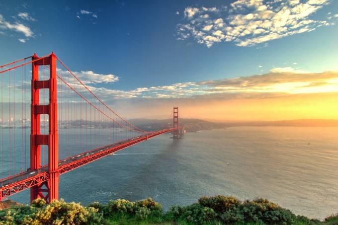 The Golden Gate Bridge during sunset in San Francisco, California.