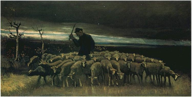 Quadro Pastor com rebanho de ovelhas