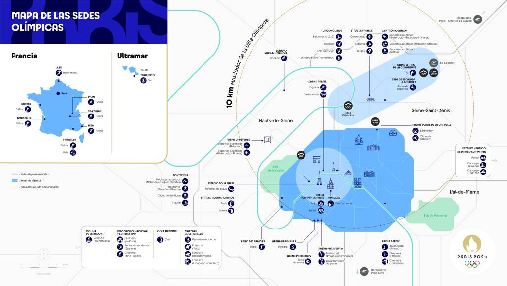 Mapa das sedes dos Jogos Olímpicos de Paris em 2024