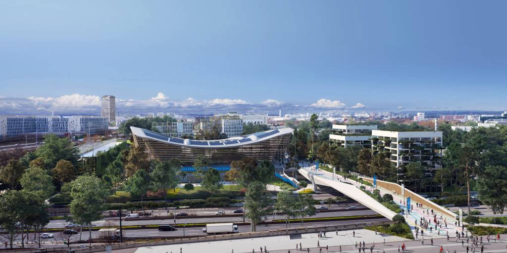 Centro Aquático que está sendo construído para os Jogos Olímpicos de Paris em 2024