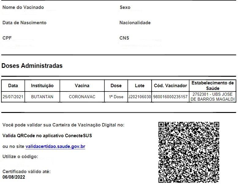 Certificado de vacinação