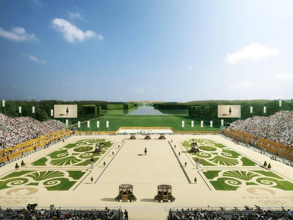 Provas de hipismo no Palácio de Versalhes durante os Jogos Olímpicos de Paris em 2024