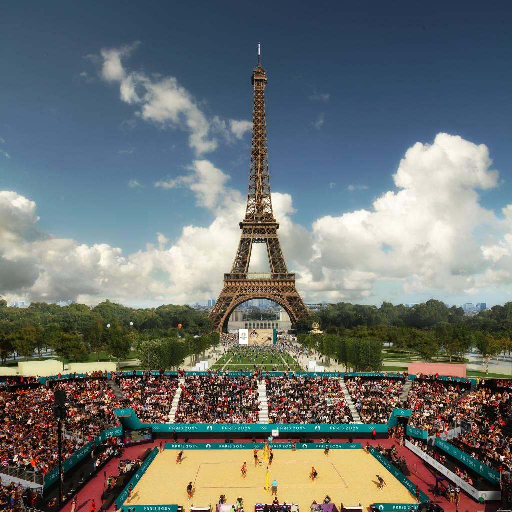 Vôlei de praia aos pés da Torre Eiffel nos Jogos Olímpicos de Paris em 2024