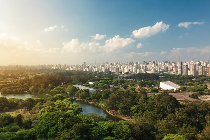 Vista aérea do Parque Ibirapuera, em São Paulo, Brasil