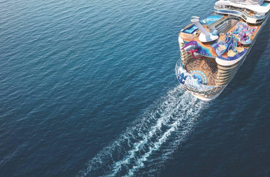 O Wonder of the Seas tem 362 metros de comprimento, mais ou menos o mesmo tamanho do Empire State Building de Nova York deitado