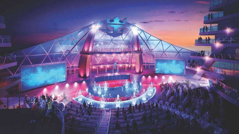 O Aquatheater é um teatro a céu aberto onde acontecerão os shows acrobáticos