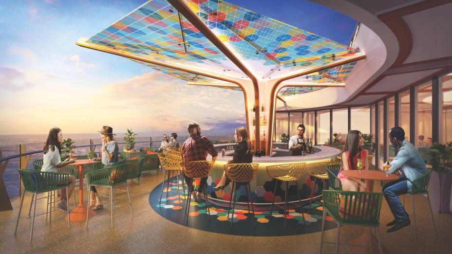 Para o happy hour em alto mar, o The Vue Bar tem vista panorâmica para o oceano