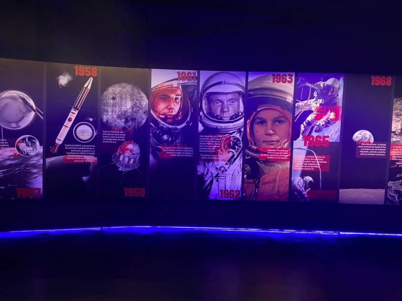 A exposição Space Adventure trata das missões Apollo da Nasa, que tinham como objetivo levar o homem à Lua