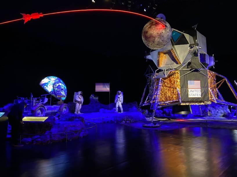 Réplica da Roving, veículo de quatro rodas que os astronautas usaram para circular pela Lua