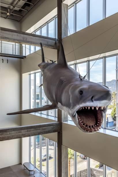 """O modelo em tamanho real usado em """"Tubarão"""" (1975) de Steven Spielberg, está suspenso dentro do museu"""